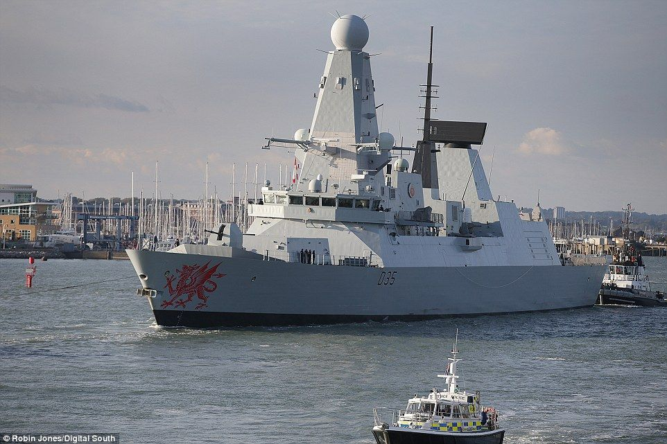 A state-of-the art destroyer has been dispatched to join Royal Navy ships monitoring Russian warships who are on their way to the Mediterranean. HMS Dragon is the fourth of the Royal Navy's six Type 45 air defence destroyers and was launched in November 2008. Pictured,HMS Dragon leaving its Portsmouth base