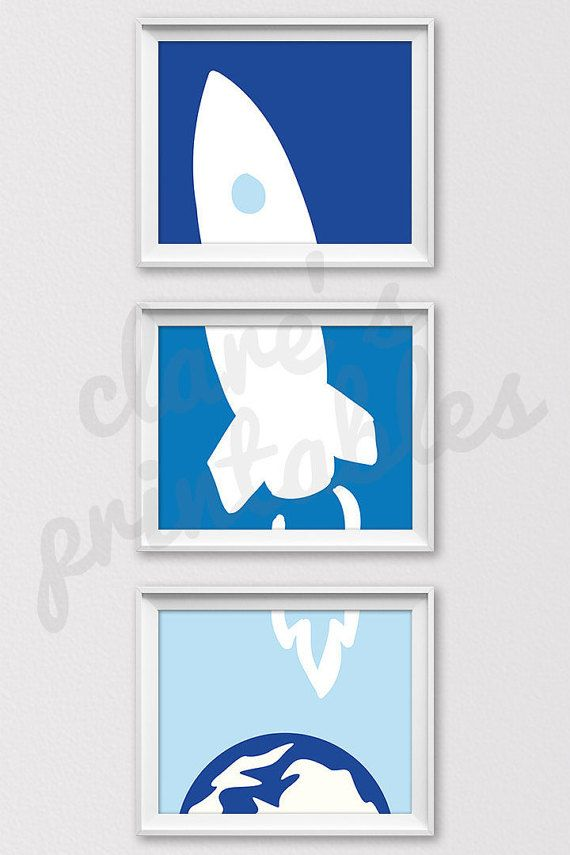 Set of three (3) high resolution blue rocket ship 8x10 inch prints, perfect for printing at home, at a local store, or an online printing