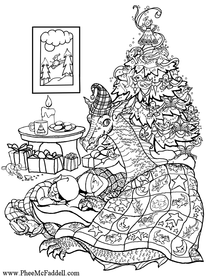christmas dragon coloring page | Dragon coloring page, Baby ...