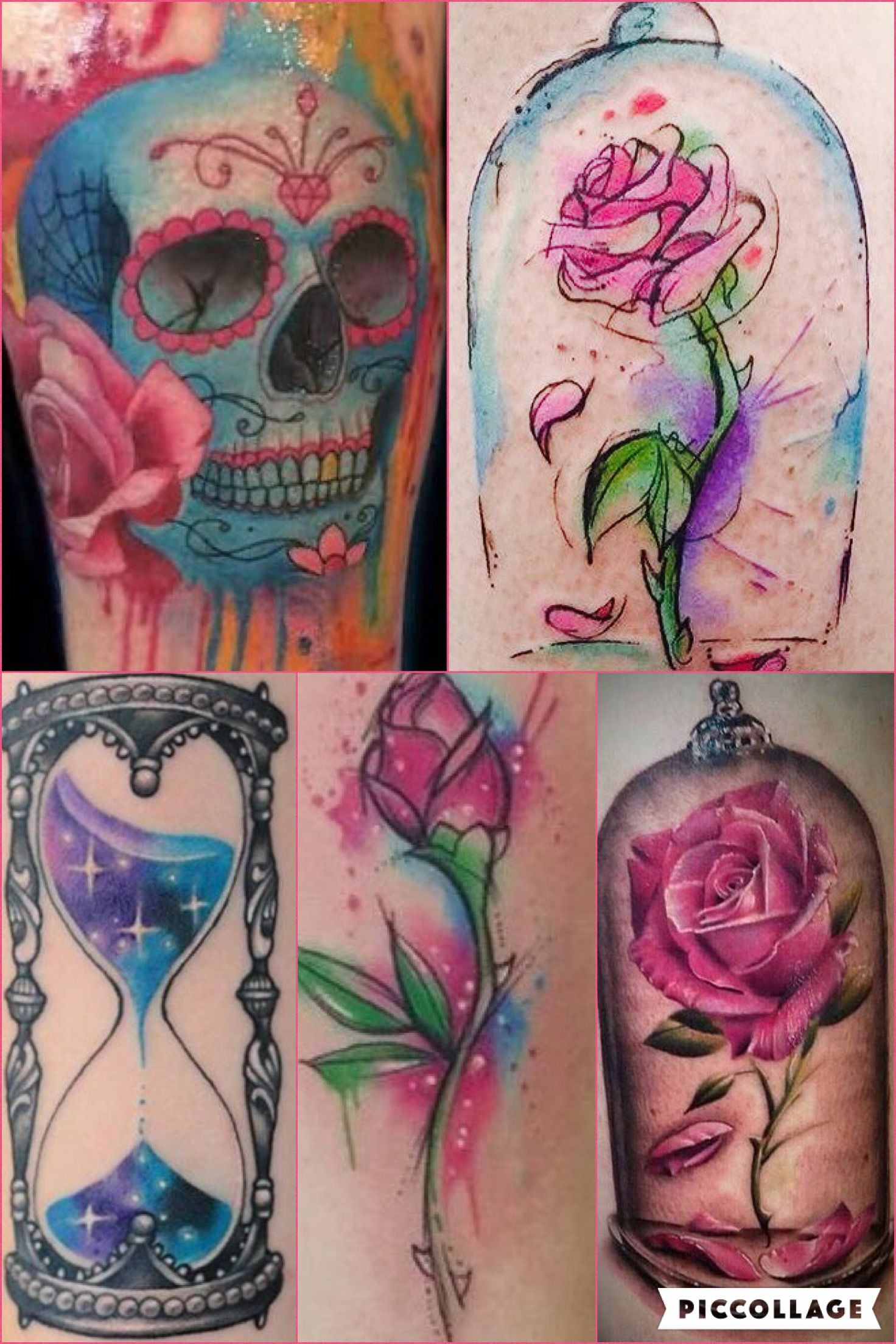 1000 images about tattos on pinterest beauty and the beast henna - Beauty And The Beast Rose Skulls N Roses And Hourglass Tattoo Ideas To Incorporate In