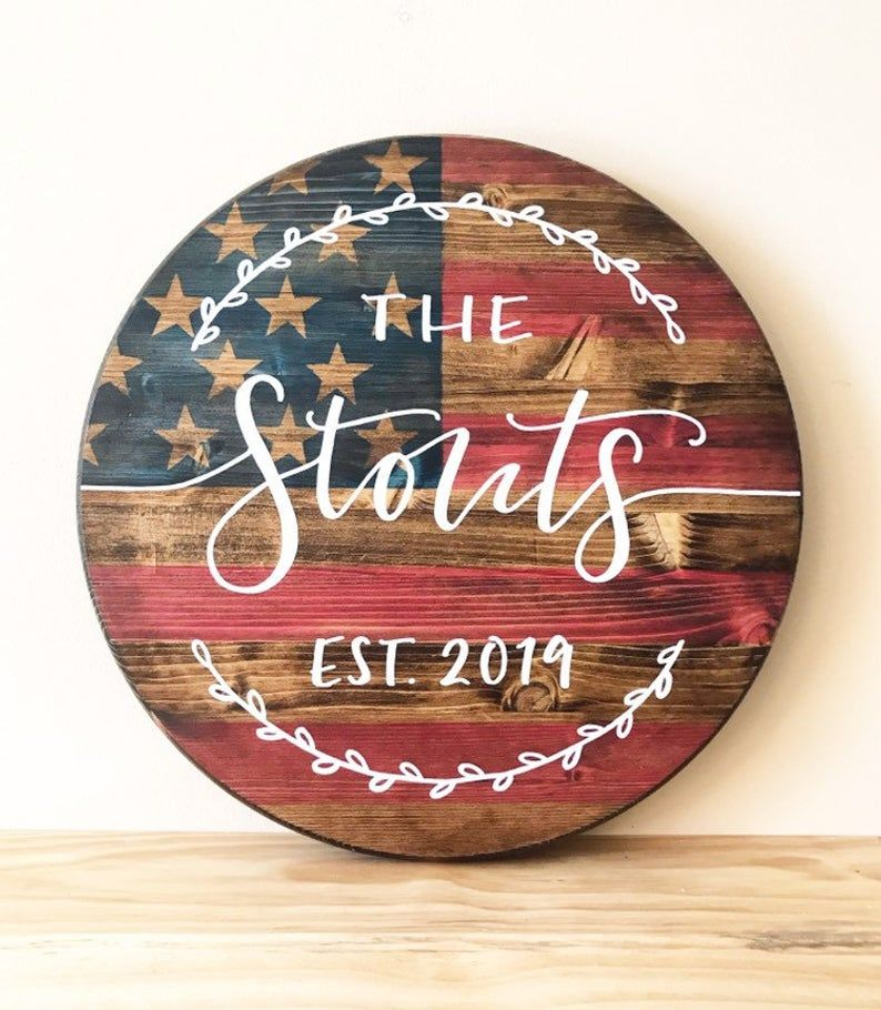 Photo of Stained American Flag Last Name Wood Round