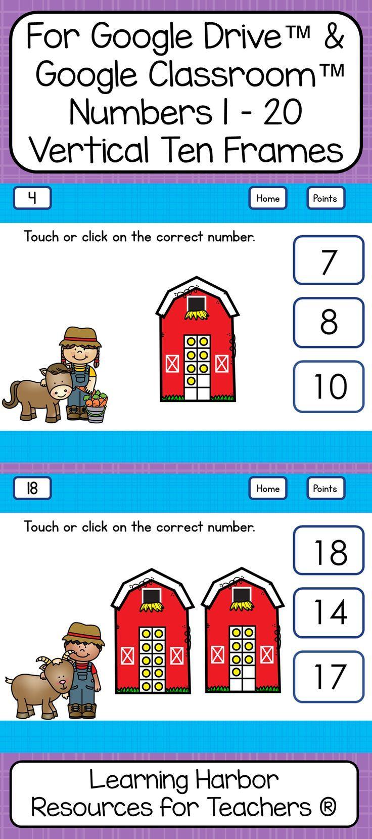 Ten Frames Numbers 1 - 20 Kindergarten Farm Theme for Google Drive ...