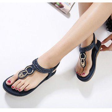 b70fc4ac1 High-quality SOCOFY Metal Beaded Bohemia Clip Toe Elastic Flat Sandals