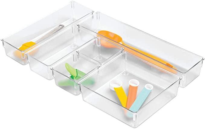 Amazon Com Idesign Plastic In Drawer Organizer Trays For Kitchen Utensils Silverwar In 2020 Small Plastic Storage Boxes Drawer Organisers Kitchen Drawer Organization