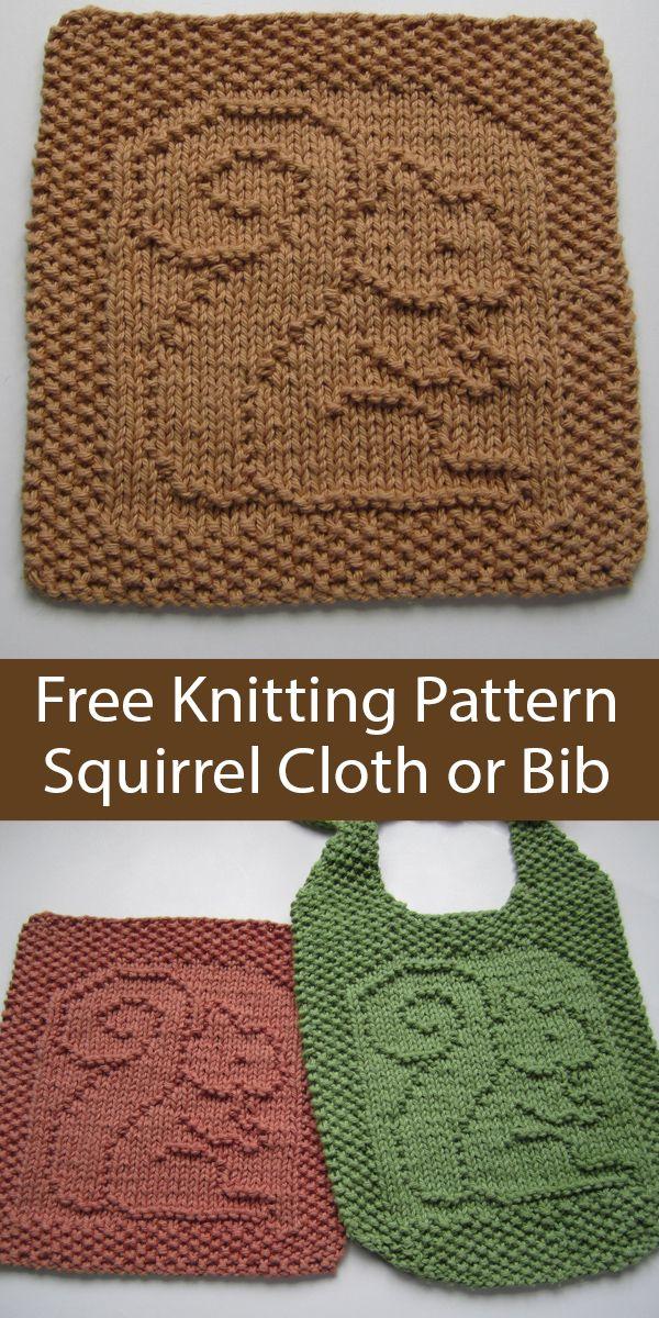 Free Knitting Pattern for Squirrel Oh, Nuts! Wash Cloth or Bib
