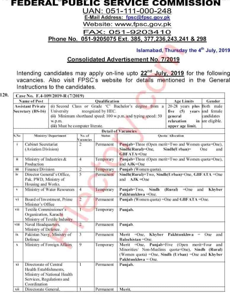 Fpsc Jobs Consolidated Advertisement No 7 2019 Apply Online
