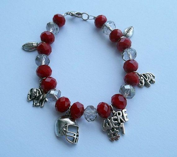 Alabama Charm Bracelet: Alabama Crimson Tide Football Charm Bracelet