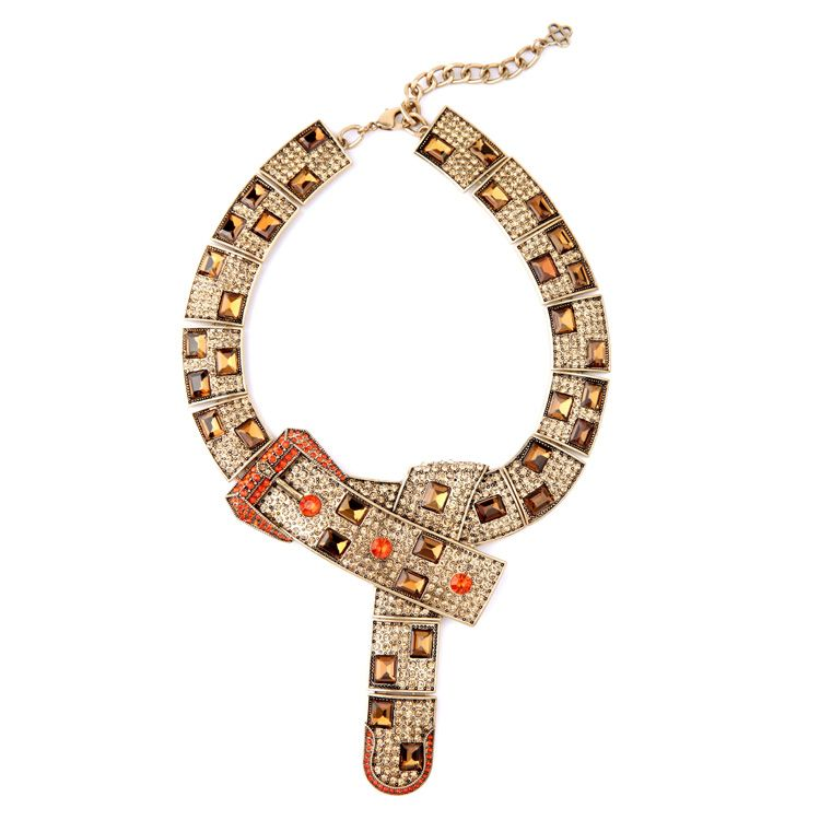 Noble Luxury Diamante Personality Belt Chunky Exaggerated Necklace 2015 Euro-America Style Statement Bib Necklace