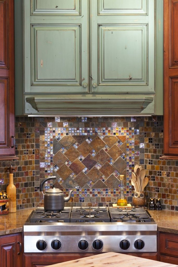 New A glass tile backsplash with multiple colored tiles and accents of beautiful glittering glass mosaic tiles Modern - New metallic tiles kitchen backsplash Contemporary