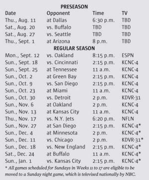 Broncos to open season with bang aka raiders open season printable denver broncos 2013 schedule broncos to open season with bang aka raiders voltagebd Image collections