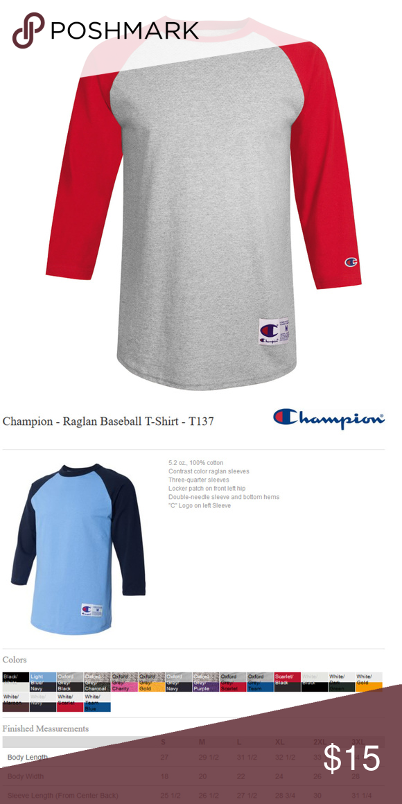 a6360bc1 Champion Raglan Baseball T-Shirt Oxford Red T137 5.2 oz., 100% cotton  Contrast color raglan sleeves Three-quarter sleeves Locker patch on front  left hip ...