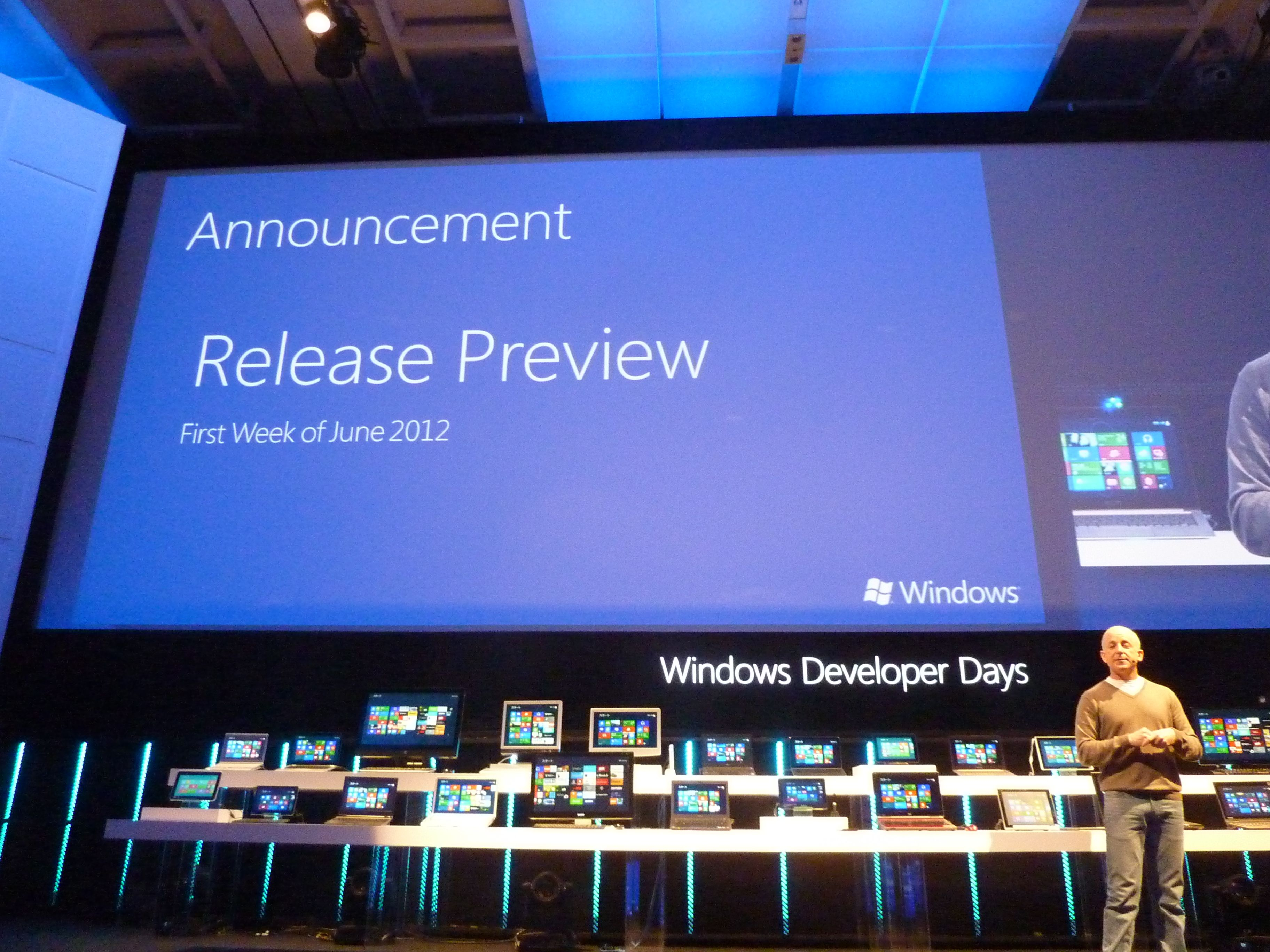 Mr. Sinofsky said Windows 8 Release Preview will be in available at 1st week in June 2012