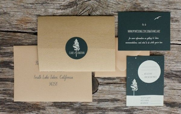 Claire + Johns Woodsy Lodge Wedding Invitations