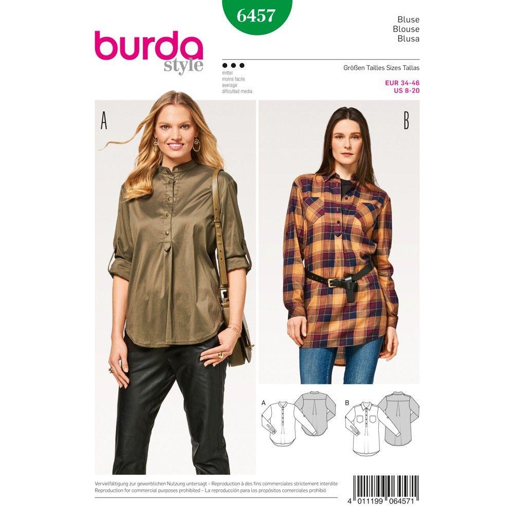 Schnittmuster - burda style - Hemdbluse – Poloverschluss – Falten im ...