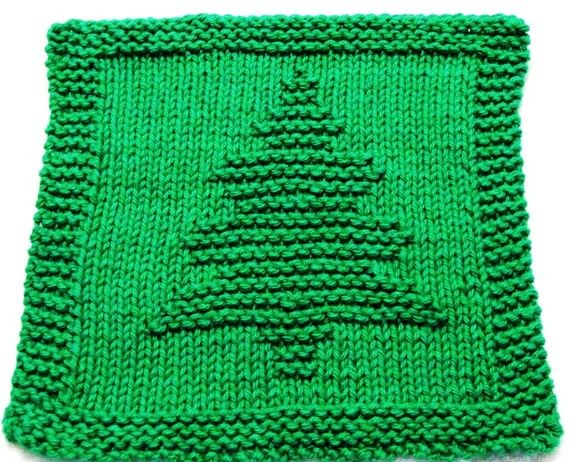Knitting Cloth Pattern Christmas Tree Pfd Instant Download Dishcloth Knitting Patterns Dishcloth Pattern Knitted Washcloth Patterns