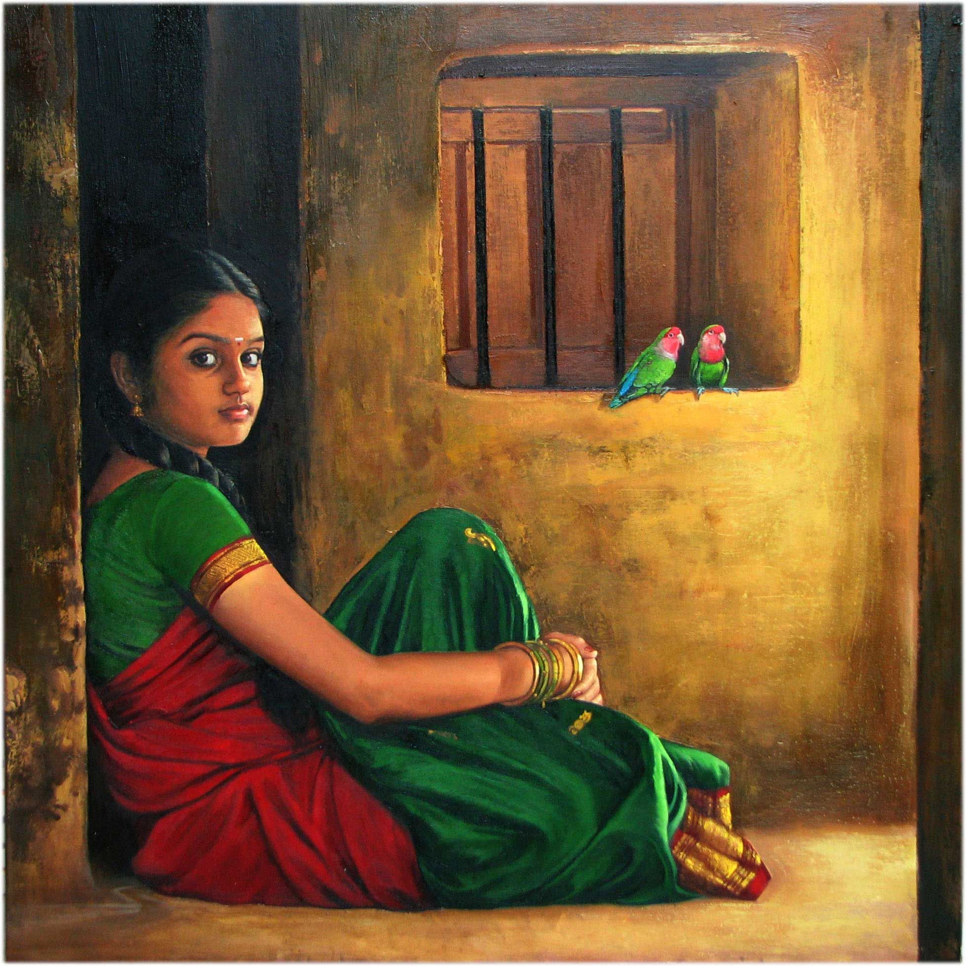'Woman Cooking' oil painting by Ilayaraja Awesome