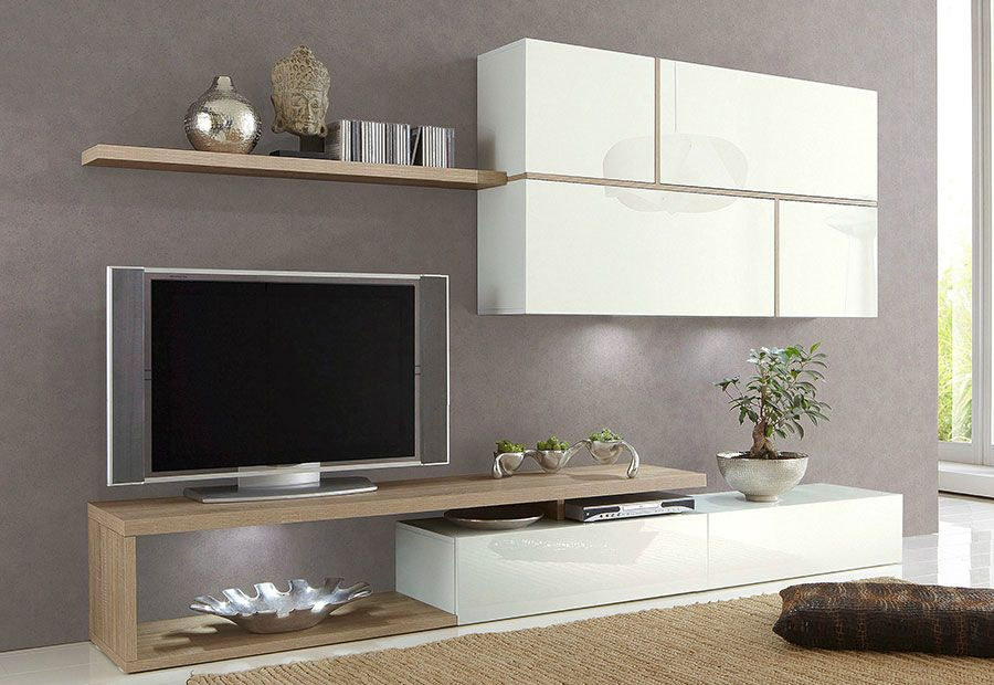 Ensemble meuble tv blanc laqu et ch ne clair contemporain for Meuble mural living