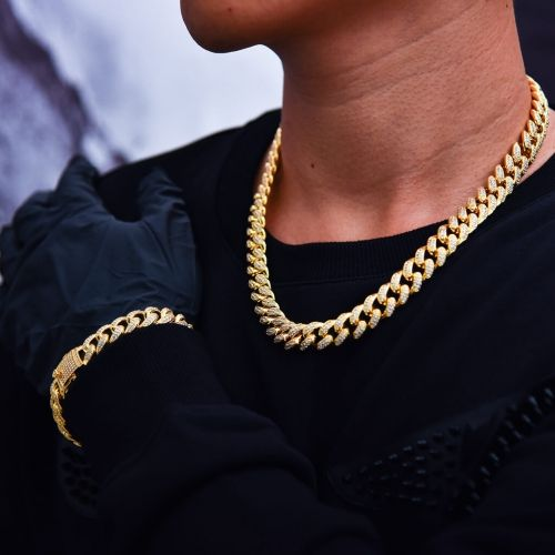 12mm 14k Gold Iced Out Cuban Chain And Bracelet Set Aporro Gold Chains For Men Mens Gold Jewelry Chains For Men