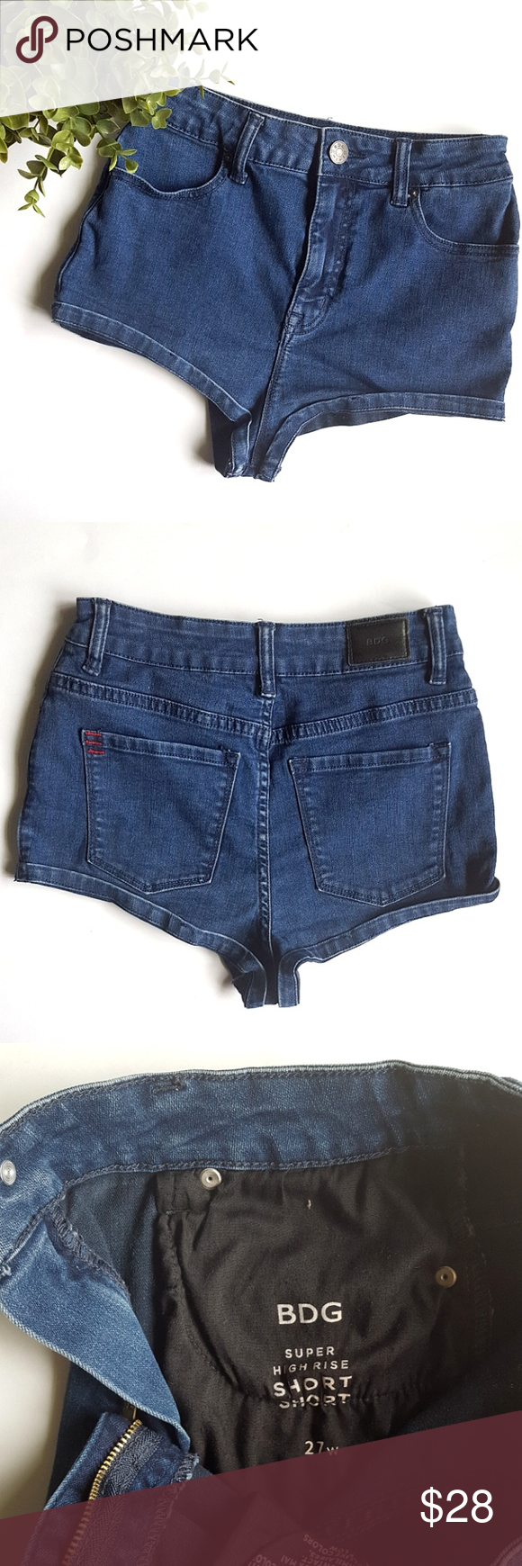 "BDG Super High Rise Short Shorts Gorgeous short shorts from UO. 4 pockets,  zipper closure and single button,  belt loops, folded hem.  13"" waist,  11.5"" rise,  1"" inseam.  Worn a handful of times, in excellent condition. Urban Outfitters Shorts Jean Shorts"