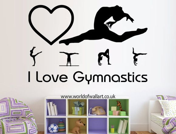 i love gymnastics wall sticker, large girls decal, big bedroom quote