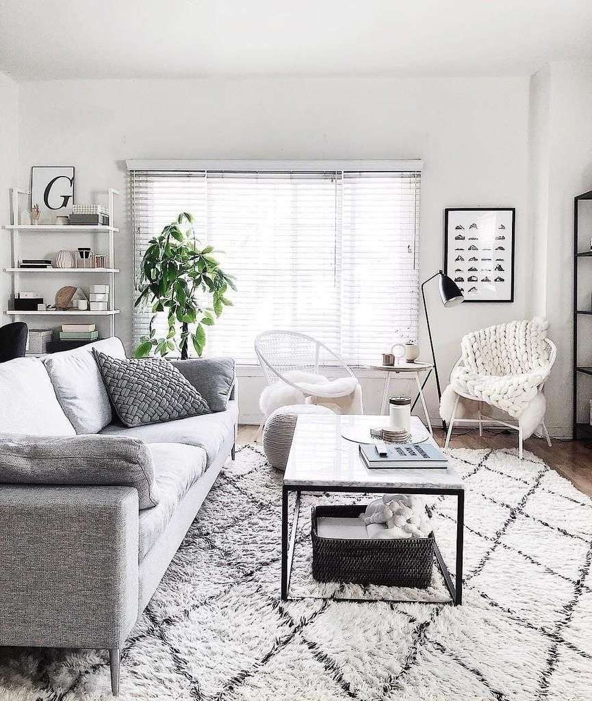 Home Interior Designs By I Nova Infra: White Furniture Living Room, Gray
