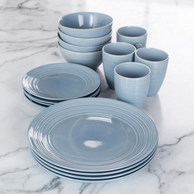 Thomson Pottery Ripple Stoneware Dinnerware - Set of 16 (Stone Blue) & Thomson Pottery Ripple Stoneware Dinnerware - Set of 16 (Stone Blue ...