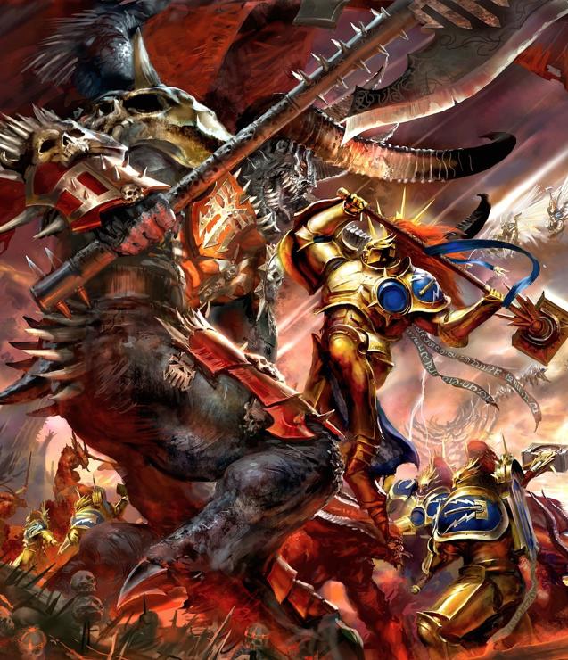 Khorne Deamon Vs Eternal Stormcast In Warhammer Age Of Sigmar Warhammer Fantasy Warhammer Art Stormcast Eternals