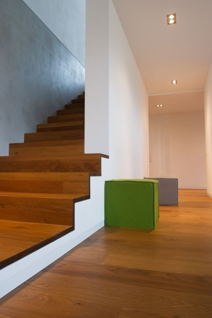 Photo of two-part skirting board consisting of base and cover profile – private house, south …