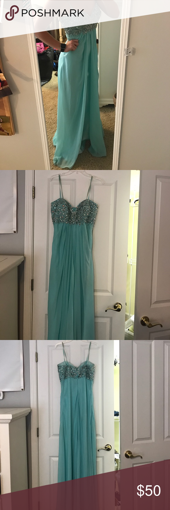 Aqua blue used prom dress with sequin detail this gently used prom