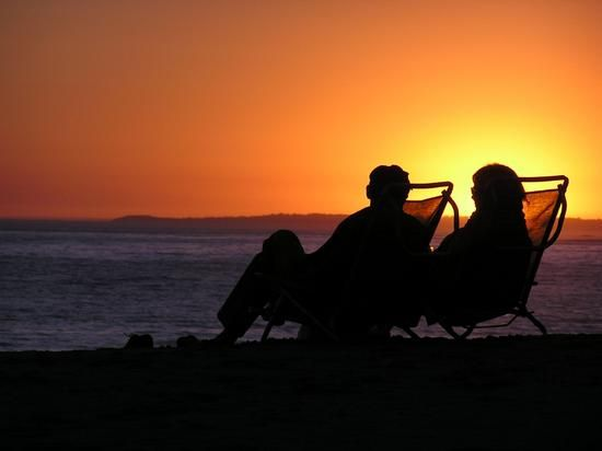 the contentment of being together to share a sunset