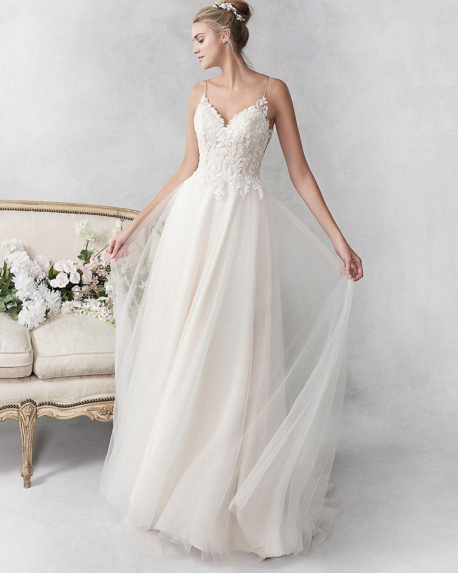 Romantic Lace Bridal Gown Wedding Dresses A Line Wedding Dress Kenneth Winston Wedding Dresses