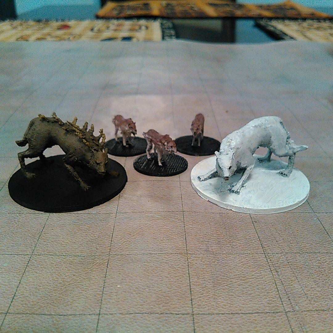 #3dprinted wolves for my D&D game! Files here: http://ift.tt/1DmG0Yl #3d #3dprinting #3dmodeling #Printrbot #blender #DnD #dnd #dungeonsanddragons #dungeon #dragon #wolf #wolves #wolfpack #direwolf #winter #imadethis #imadeit #wizardsofthecoast #tabletop #rpg #gaming #minipainting #minis by mz4250