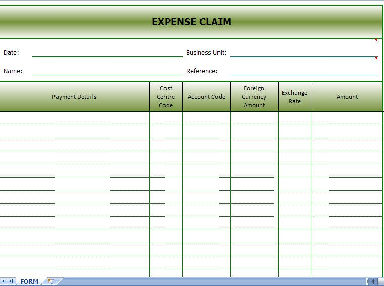 Expenses Claim Form Sample | Expense Claim | Pinterest