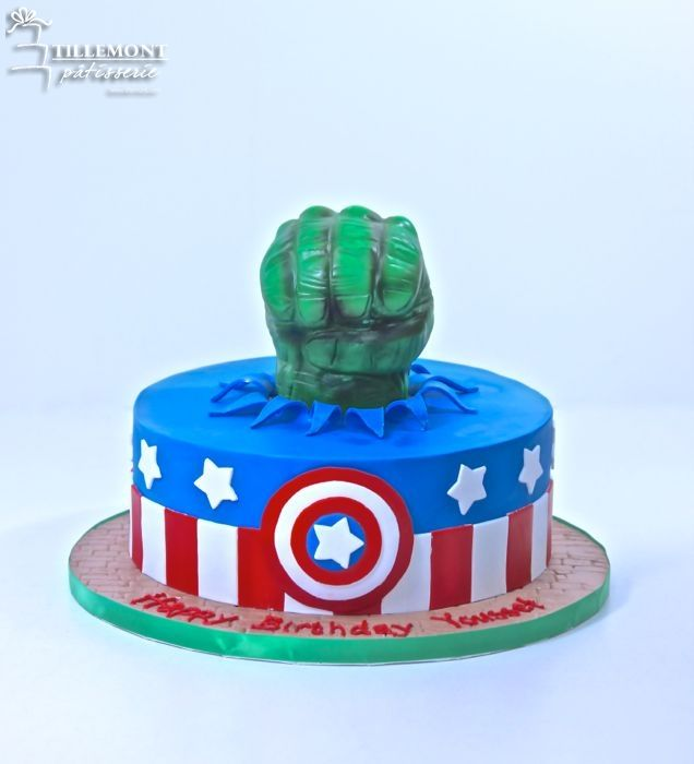 Hulk Smash and Captain America Childrens Cakes Patisserie