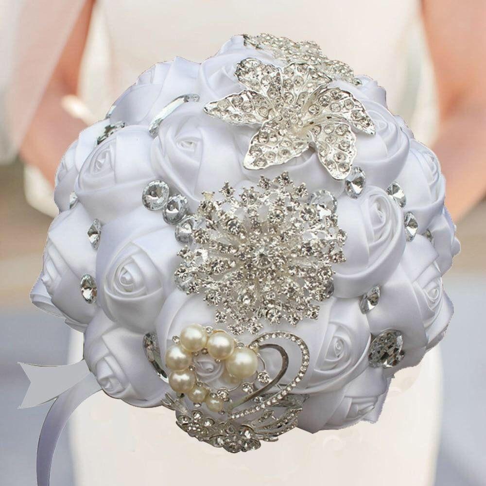 Brooch bouquet wedding bouquet set•Silk bridal bouquet•Ivory bridal bouquet•Bride brooch bouquet•