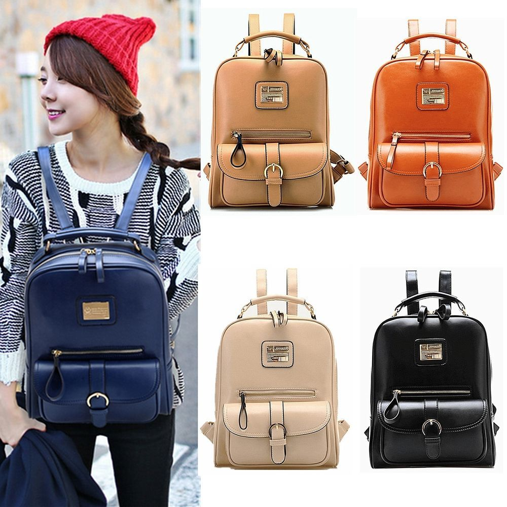 Ladies Women LEATHER Backpack Rucksack Shoulder Fashion Satchel ...