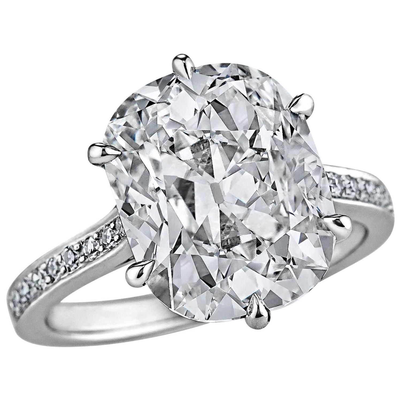 Art deco carat gia certified cushion cut diamond platinum