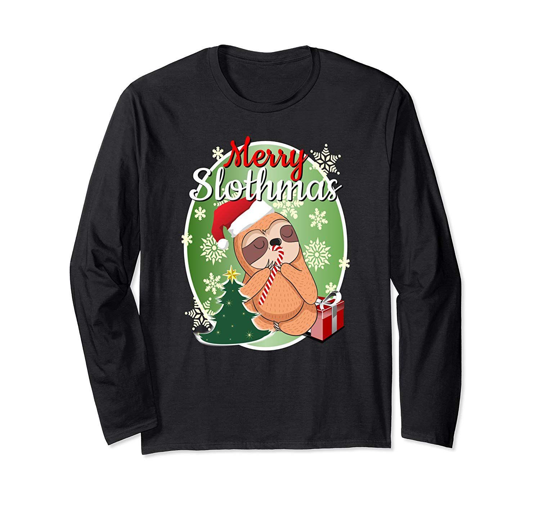 Funny Sloth Christmas Shirt MERRY SLOTHMAS Sloth Lover Gift Long Sleeve T-Shirt