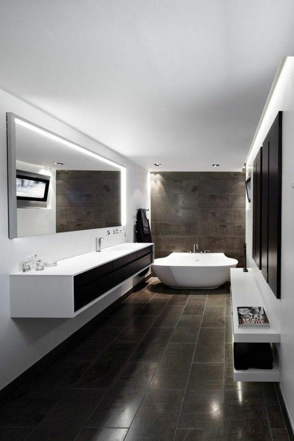 Modern bathroom big floor tiles white furnishings recessed