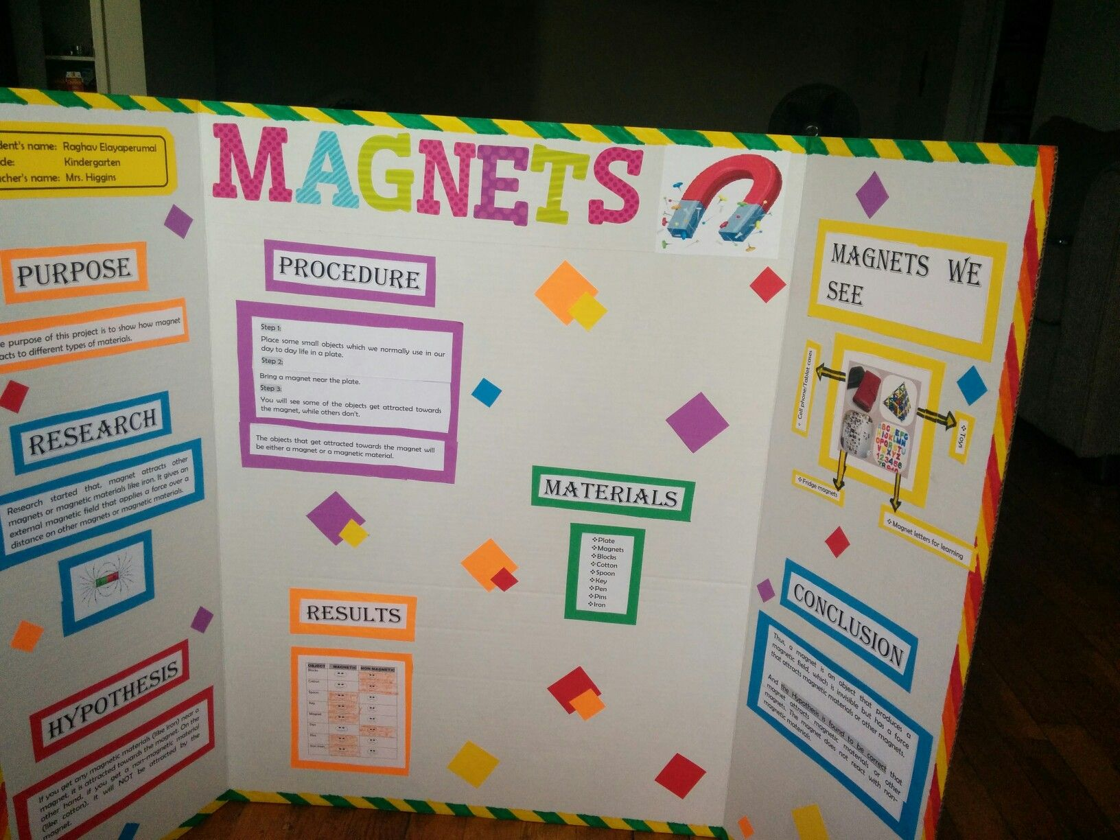 Science Fair Project On Magnets Kindergarten Science Fair