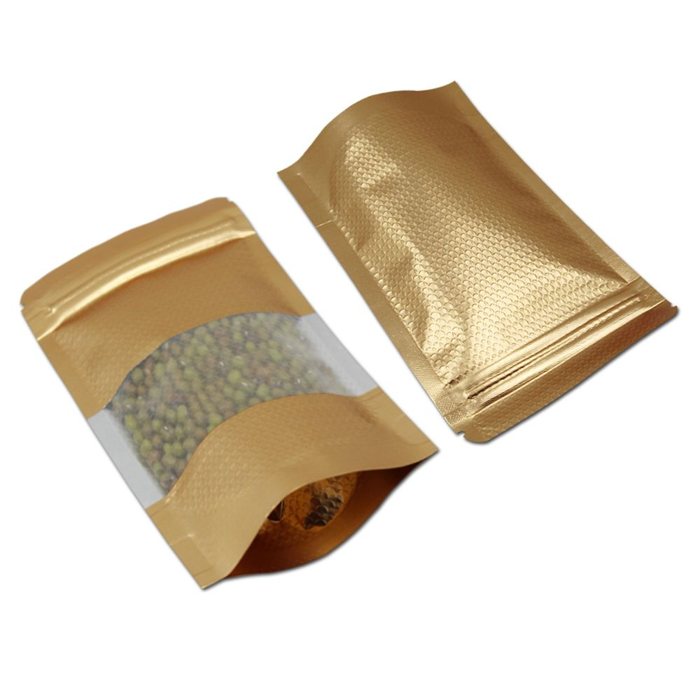 200Pcs/lot Stand Up Aluminum Foil Lines Zip Lock Golden