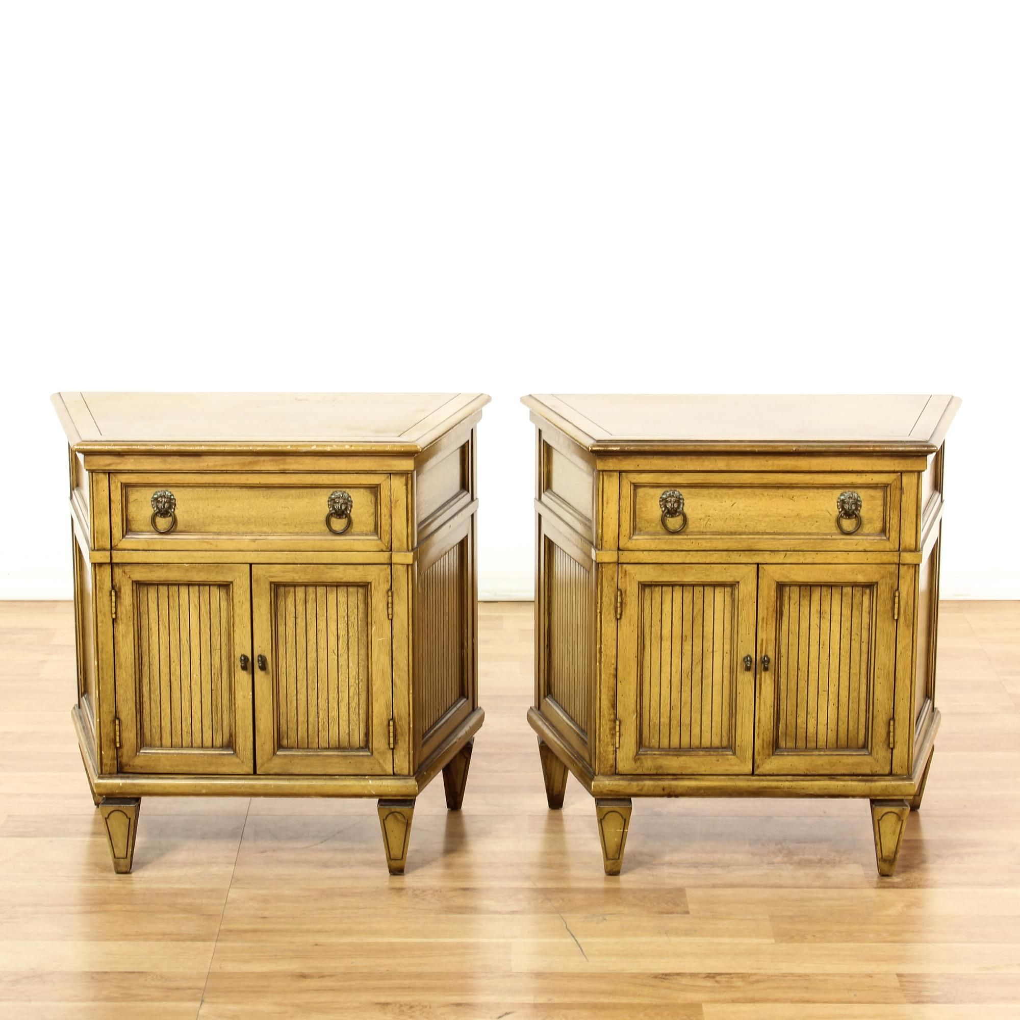 This Pair Of Early American Style Nightstands Are Featured In A
