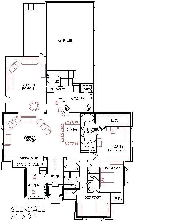 Modern Narrow Lot 2500 Sq Ft House Floor Plans Three Bedroom House Floor Plans House Plans One Story Country Cottage House Plans