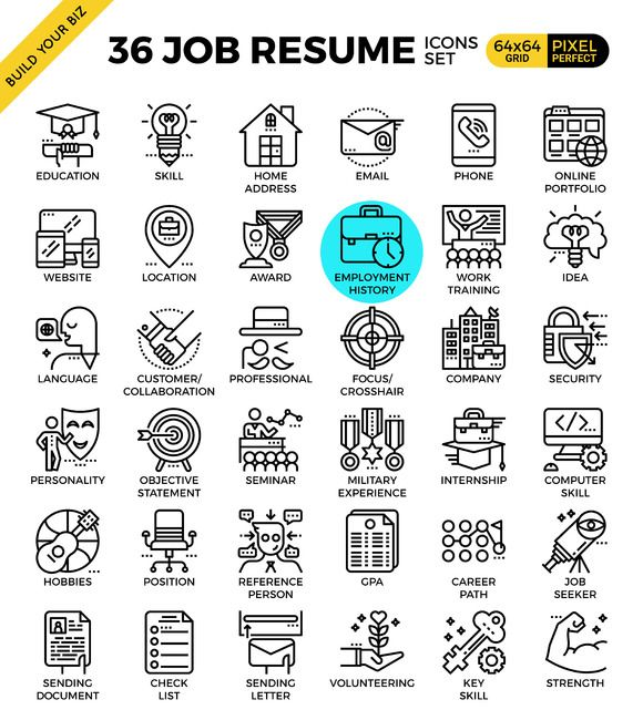 36 Job Resume Outline Icons by Becris on @creativemarket line - perfect font for resume
