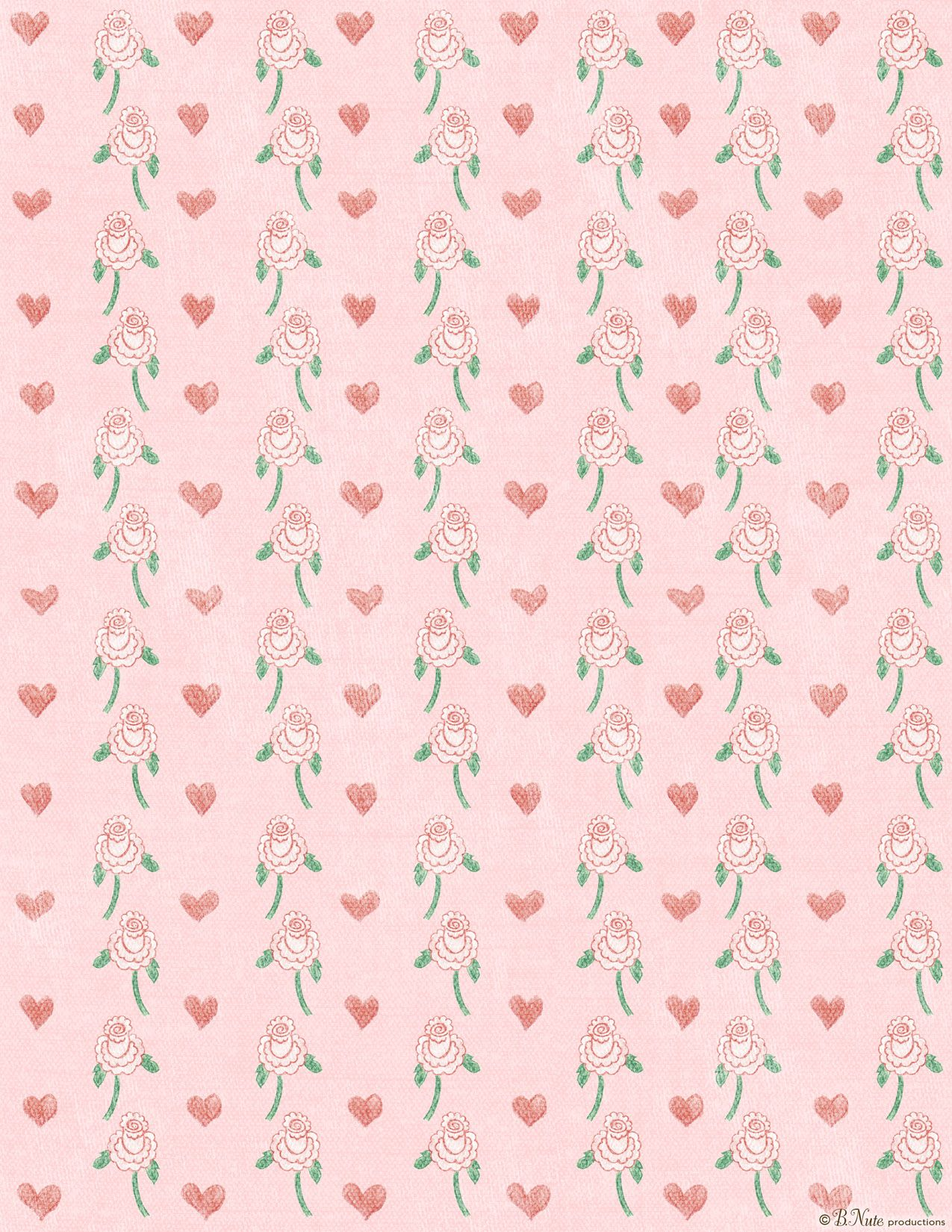 free printable hearts 'n flowers valentines craft paper by b.nute