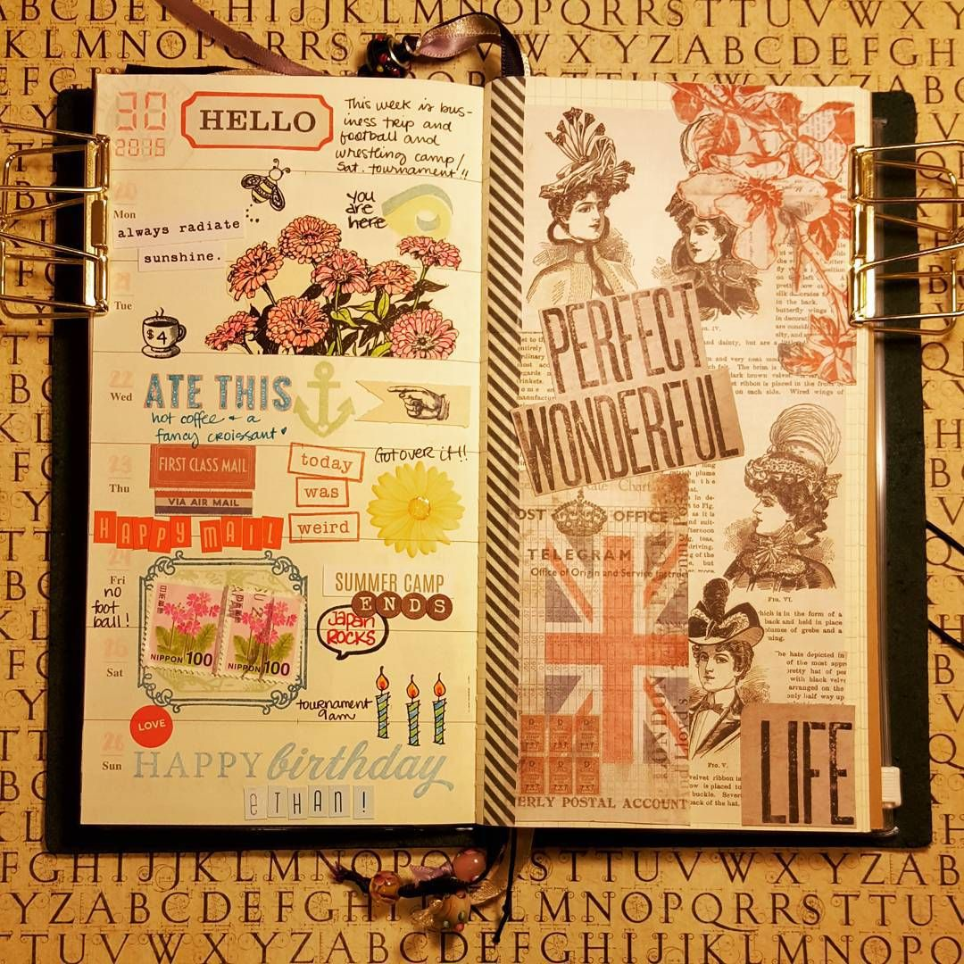 Week 30 in review, 2015. #midori #bluemidori #bluemidoritravelersnotebook #travelersnotebook #midoritravelersnotebook #travelersnote #journaling #journal #daily #documenting #documentinglife #weekly ##writing #writeitdown #stamps #stamping #fussycutting #paper #paperaddict #paperlove #fussycutting #ilovepaper #paperporn #dailynote #weeklynotes #doodling