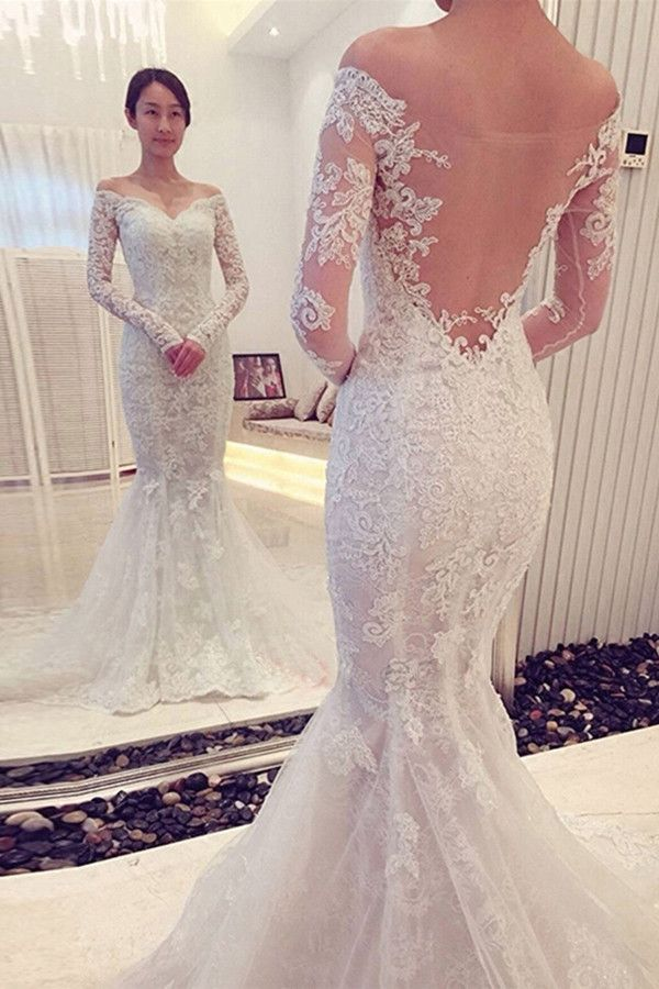Charming off the shoulder long sleeves lace mermaid for Lace wedding dresses with sleeves kleinfelds