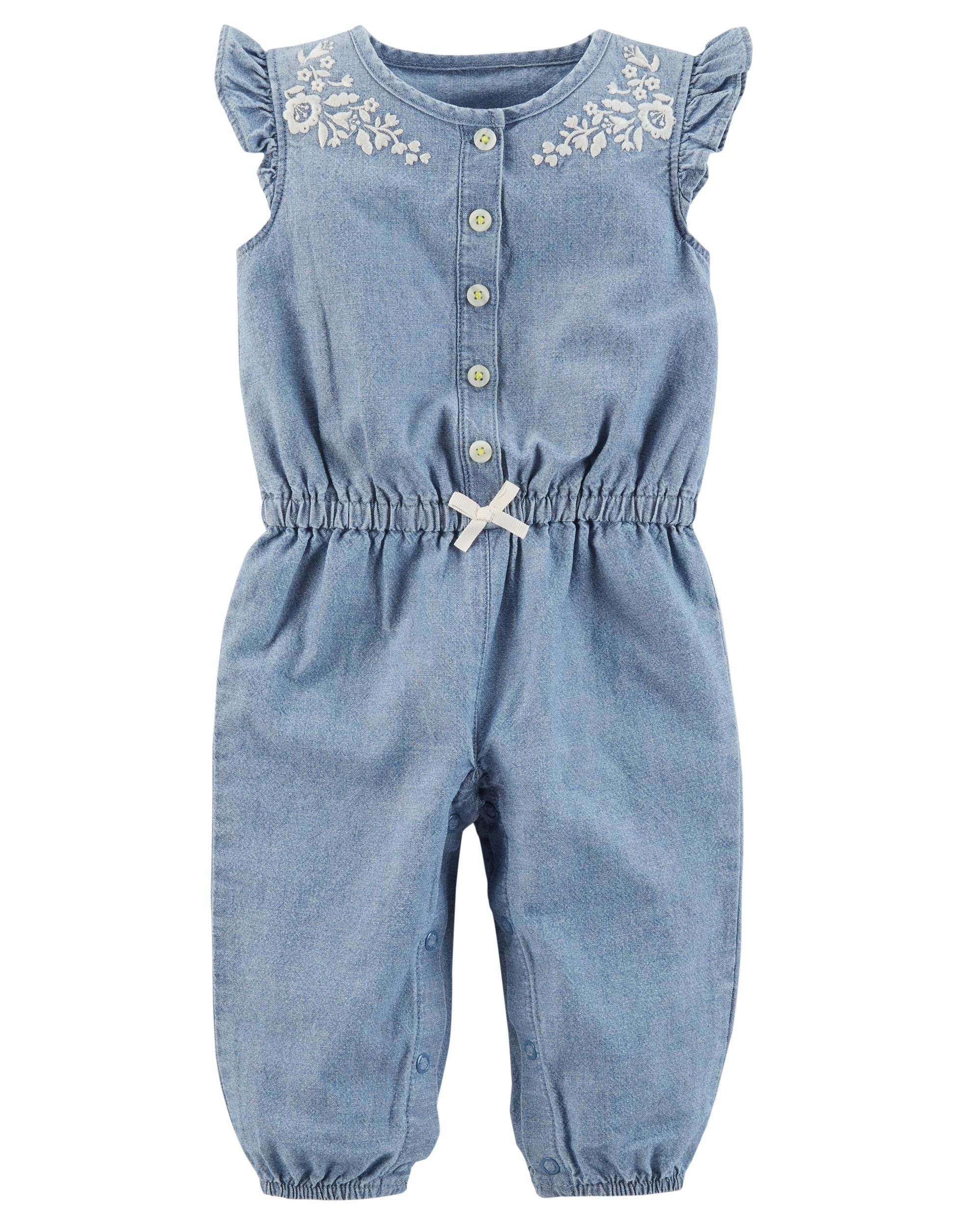 7dfe59fa1d Baby Girl Chambray Jumpsuit