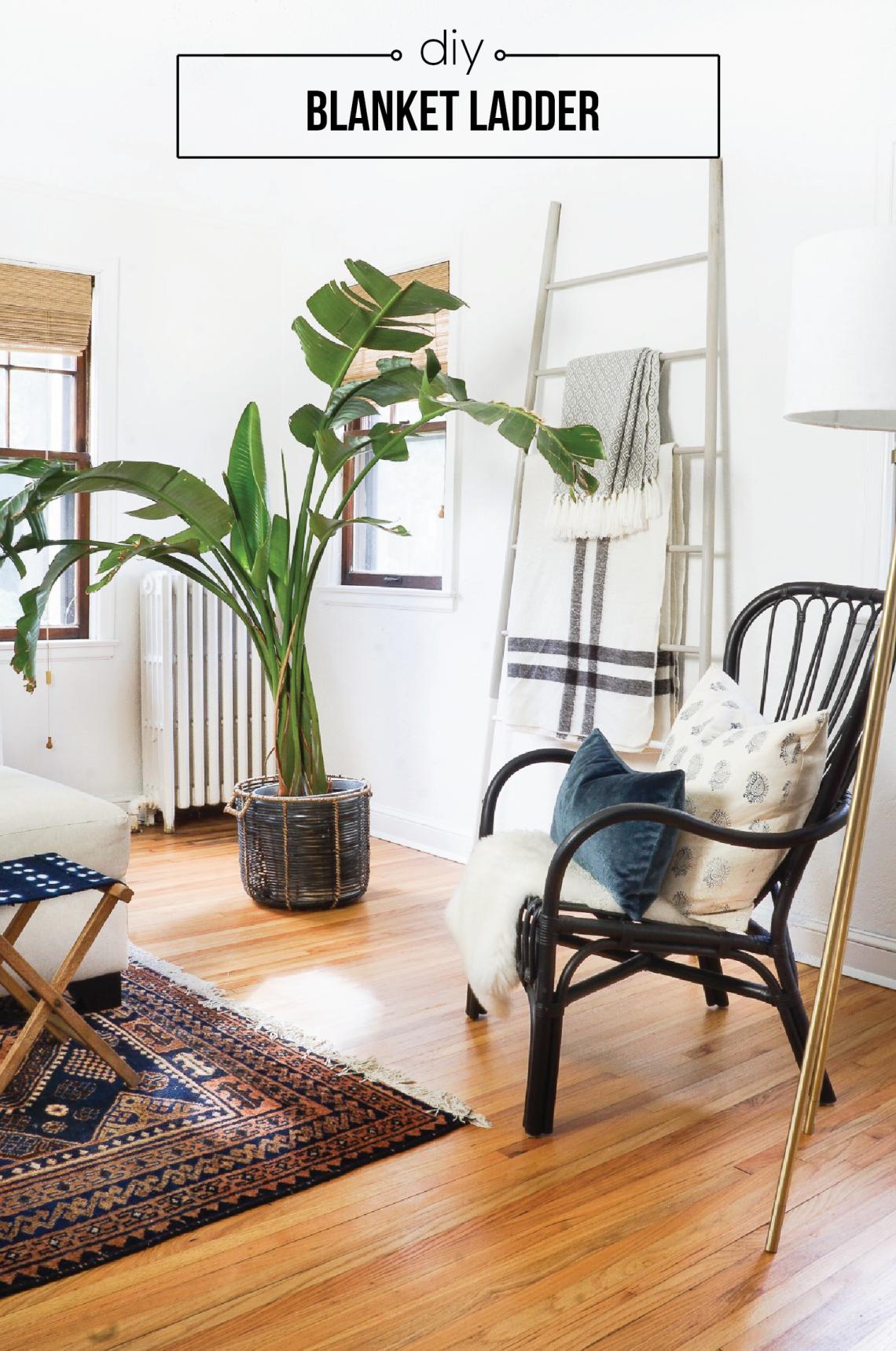 diy wood dowel blanket ladder pinterest diy wohnen und wohnen. Black Bedroom Furniture Sets. Home Design Ideas