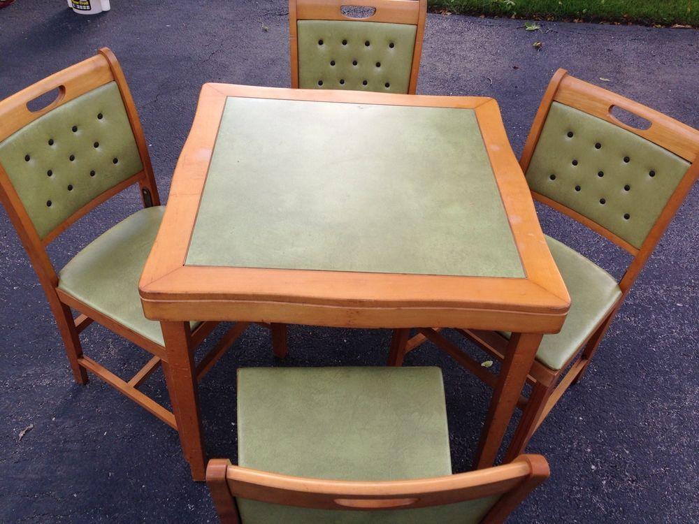 Norquist Folding Card Table W Folding Chairs Mid Century